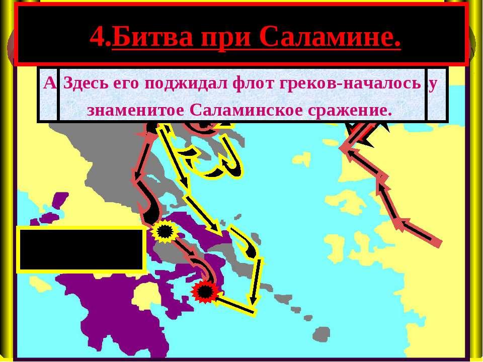 4.Битва при Саламине. А в это время флот персов подошел к проливу между о.Сал...