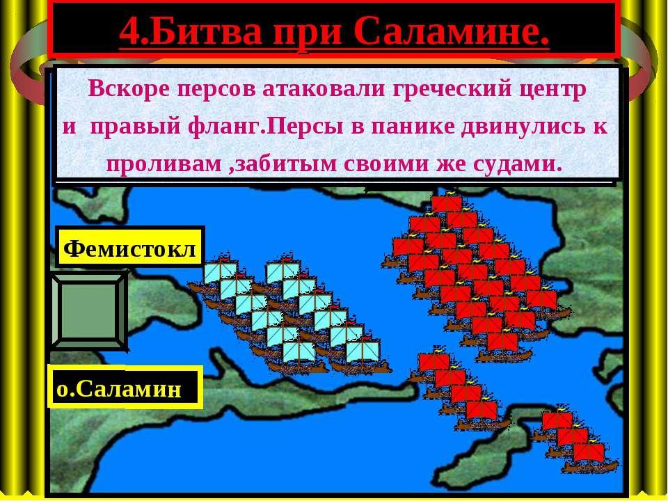 4.Битва при Саламине. АТТИКА о.Саламин Фемистокл Ксеркс Битва при Саламине со...