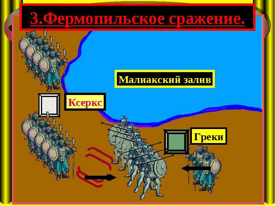 3.Фермопильское сражение. Малиакский залив Ксеркс Греки