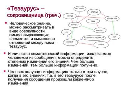 «Тезаурус» – сокровищница (греч.) Человеческое знание, можно рассматривать в ...