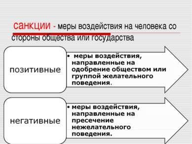 санкции - меры воздействия на человека со стороны общества или государства