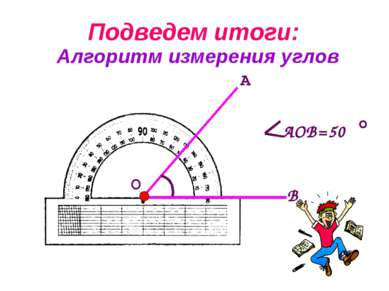 Алгоритм измерения углов Подведем итоги: А О В АОВ=50