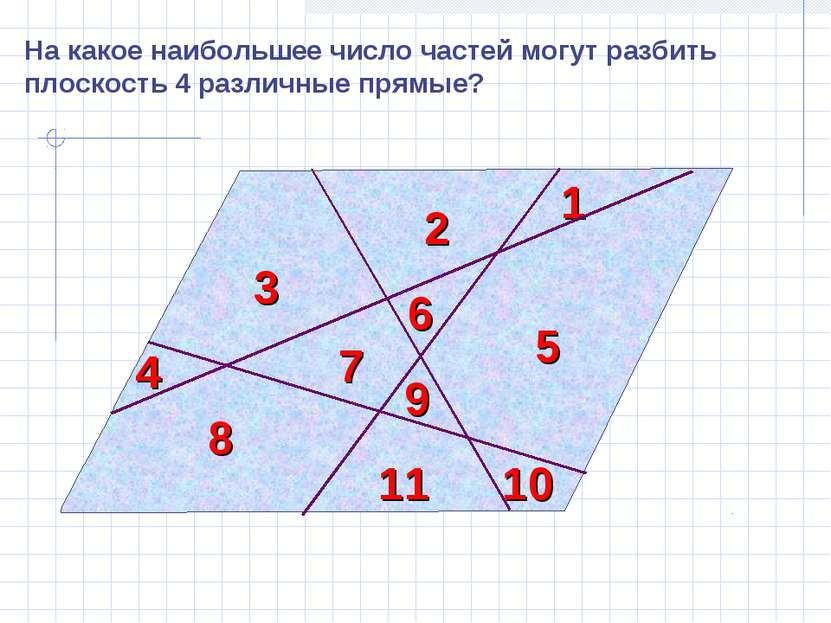 На какое наибольшее число частей могут разбить плоскость 4 различные прямые? ...