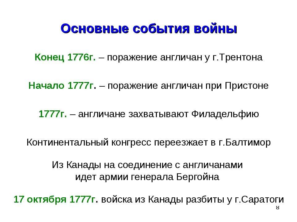 * Основные события войны Конец 1776г. – поражение англичан у г.Трентона Начал...