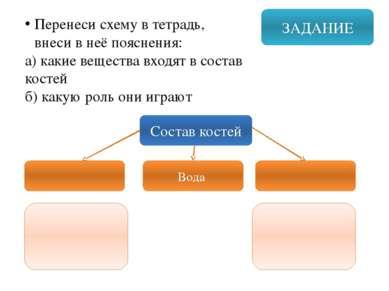 ЗАДАНИЕ Перенеси схему в тетрадь, внеси в неё пояснения: а) какие вещества вх...