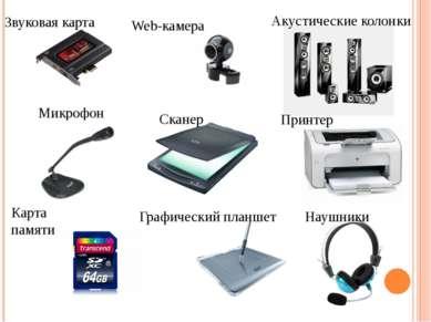 Звуковая карта Web-камера Карта памяти Наушники Микрофон Принтер Графический ...