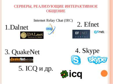 СЕРВЕРЫ, РЕАЛИЗУЮЩИЕ ИНТЕРАКТИВНОЕ ОБЩЕНИЕ Internet Relay Chat (IRC) Dalnet 3...