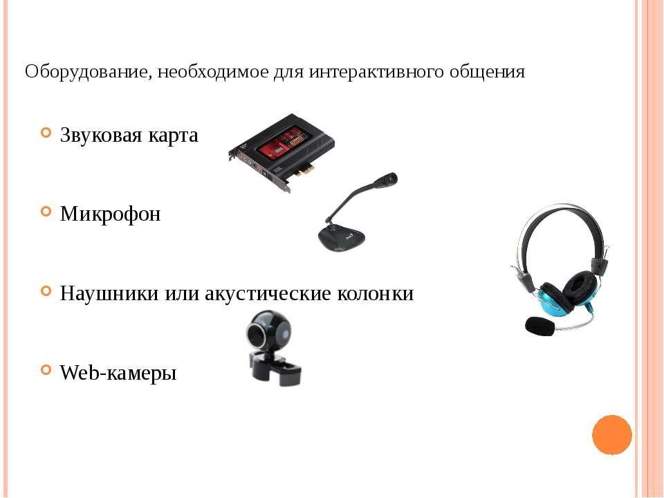 Оборудование, необходимое для интерактивного общения Звуковая карта Микрофон ...