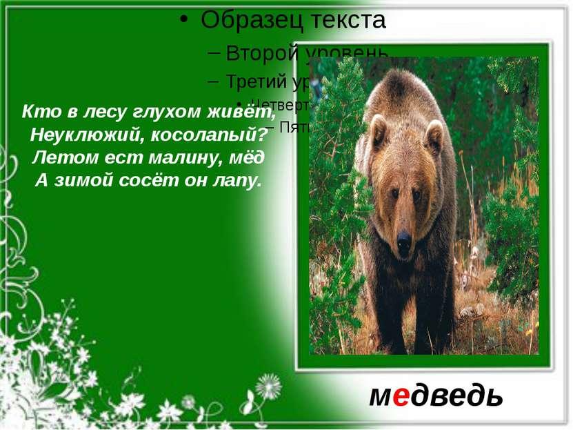 Кто в лесу глухом живёт, Неуклюжий, косолапый? Летом ест малину, мёд А зимой ...