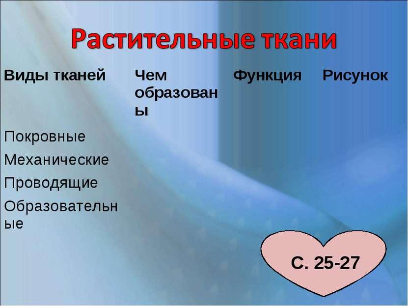 С. 25-27 Виды тканей Чем образованы Функция Рисунок Покровные Механические Пр...