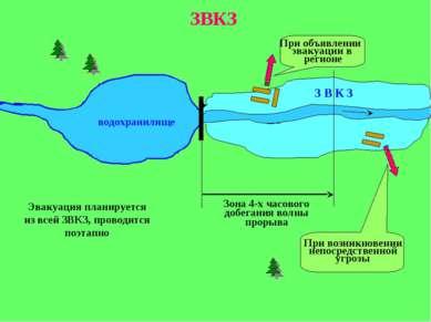 водохранилище З В К З Зона 4-х часового добегания волны прорыва ЗВКЗ При объя...