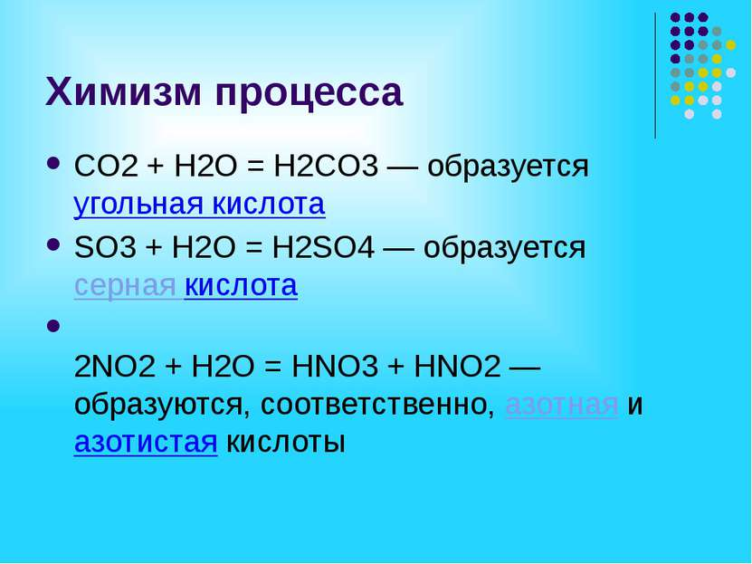 Химизм процесса СO2 + H2O = H2СO3 — образуется угольная кислота SO3 + H2O = H...