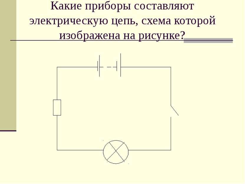 Какие приборы составляют электрическую цепь, схема которой изображена на рису...