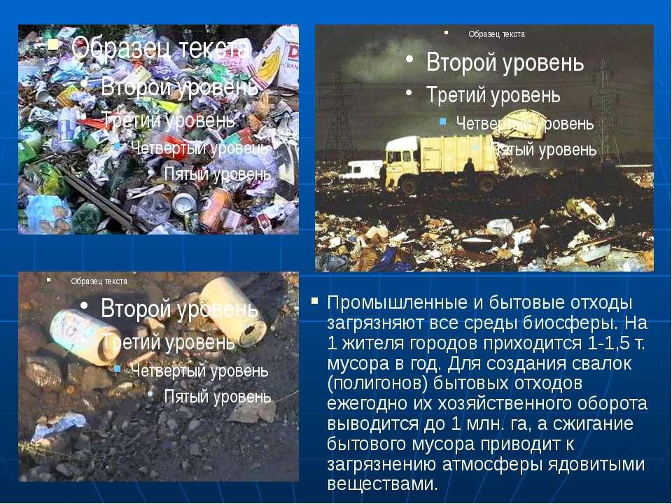Промышленные и бытовые отходы загрязняют все среды биосферы. На 1 жителя горо...