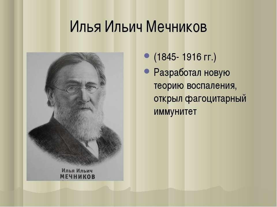 Илья Ильич Мечников (1845- 1916 гг.) Разработал новую теорию воспаления, откр...