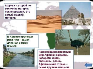 В Африке протекает река Нил – самая длинная в мире (6671м) Африка – второй по...
