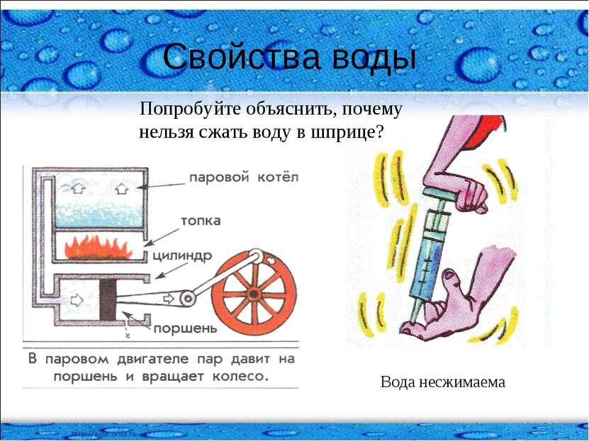 Свойства воды Вода несжимаема Попробуйте объяснить, почему нельзя сжать воду ...