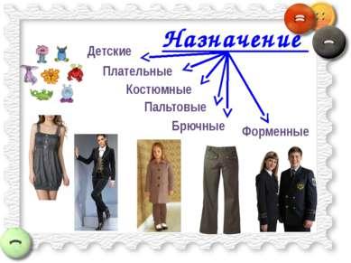 Назначение Плательные Пальтовые Костюмные Брючные Форменные Детские
