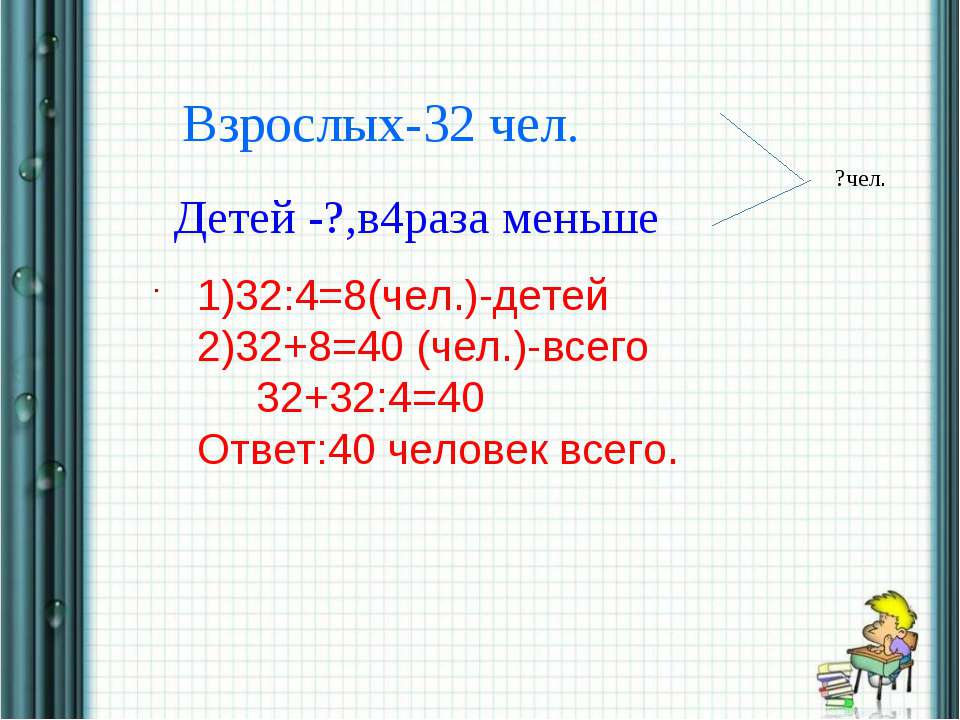 * * Взрослых-32 чел. Детей -?,в4раза меньше . ?чел. 1)32:4=8(чел.)-детей 2)32...