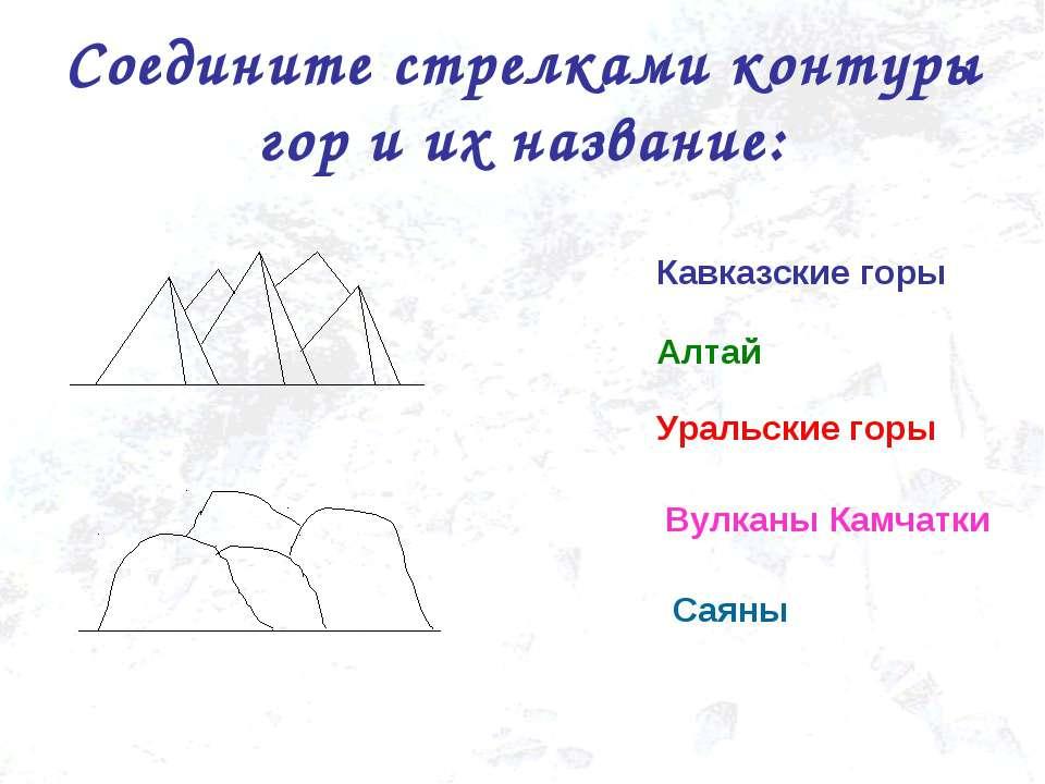 Соедините стрелками контуры гор и их название: Уральские горы Кавказские горы...