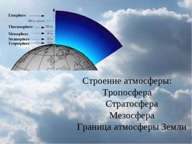 Строение атмосферы: Тропосфера Стратосфера Мезосфера Граница атмосферы Земли