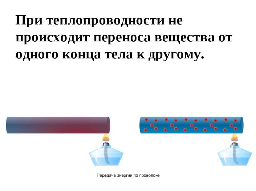 При теплопроводности не происходит переноса вещества от одного конца тела к д...