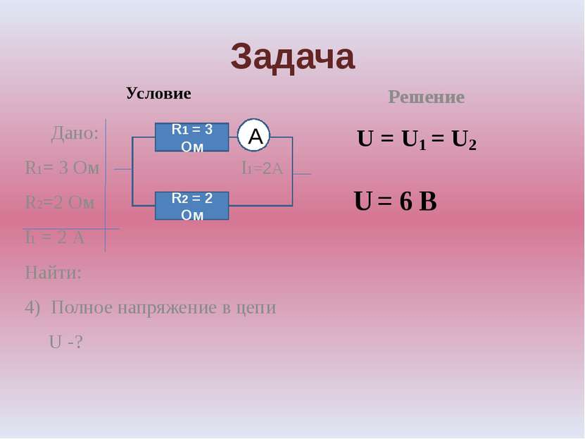 Задача Условие Дано: R1= 3 Ом I1=2А R2=2 Ом I1 = 2 А Найти: 4) Полное напряже...