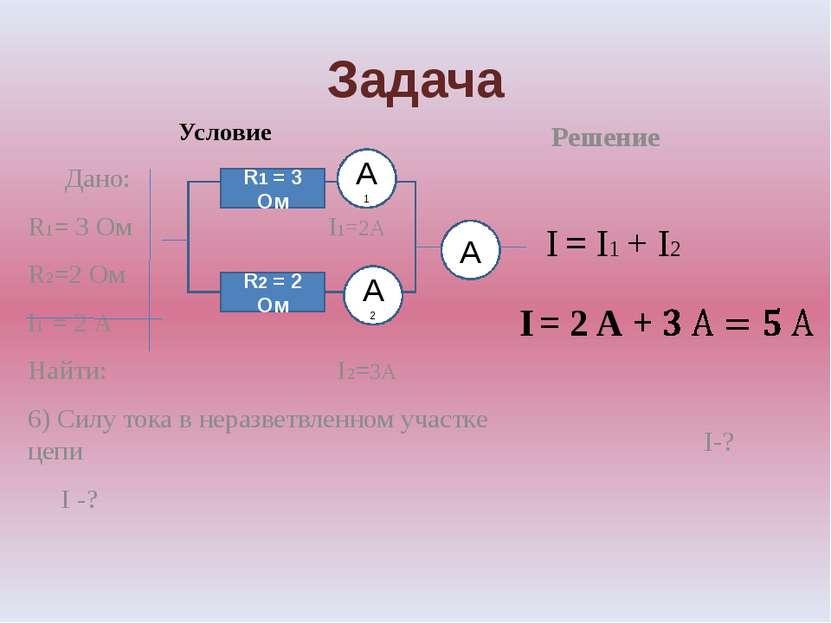 Задача Условие Дано: R1= 3 Ом I1=2А R2=2 Ом I1 = 2 А Найти: I2=3А 6) Силу ток...