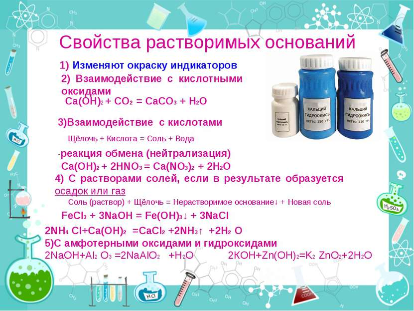 Свойства растворимых оснований Щёлочь + Кислота = Соль + Вода 1) Изменяют окр...