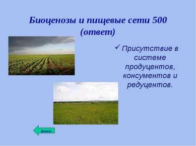 Биоценозы и пищевые сети 500 (ответ) Присутствие в системе продуцентов, консу...