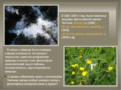 В стихах о природе была очевидна главная особенность тютчевского творчества: ...