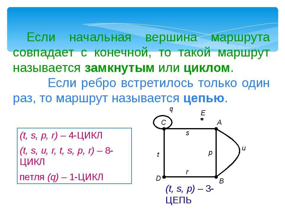Если начальная вершина маршрута совпадает с конечной, то такой маршрут называ...