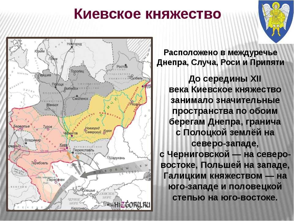 Киевское княжество Расположено в междуречье Днепра, Случа, Роси и Припяти До ...