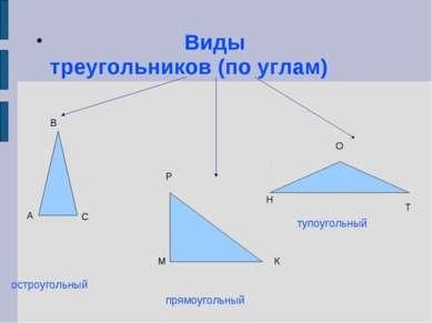 Виды треугольников (по углам) остроугольный прямоугольный тупоугольный А В С ...