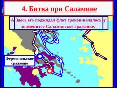 4. Битва при Саламине А в это время флот персов подошел к проливу между о.Сал...