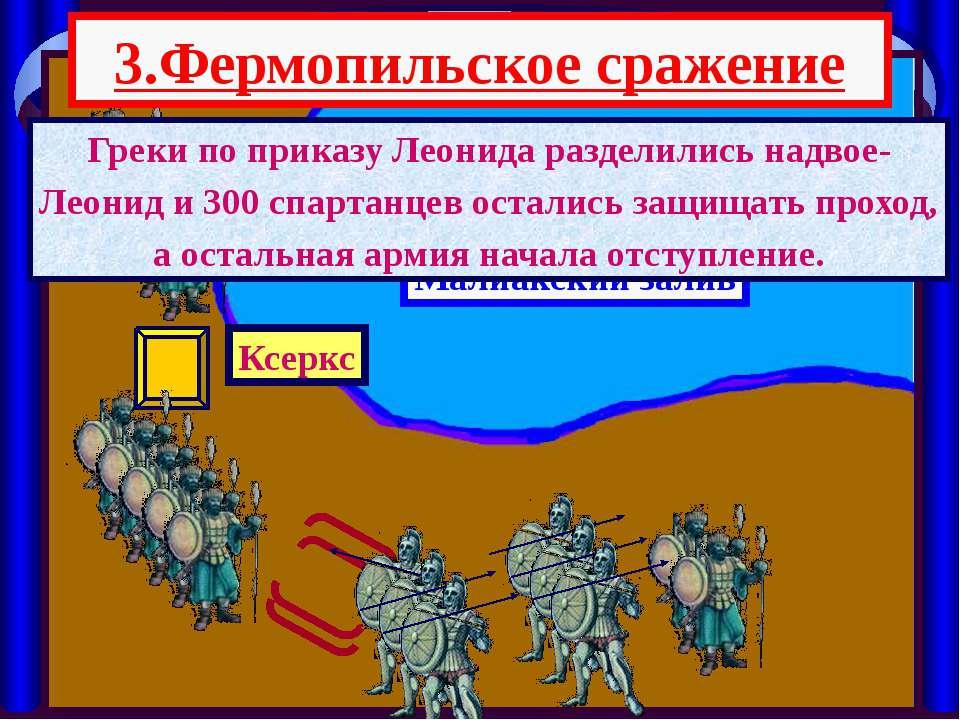3.Фермопильское сражение Малиакский залив Ксеркс Греки по приказу Леонида раз...