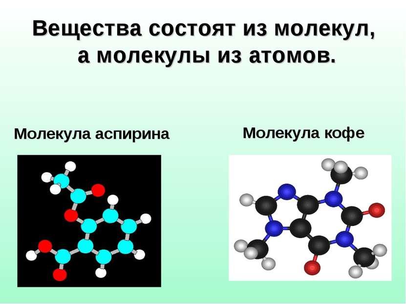 Вещества состоят из молекул, а молекулы из атомов. Молекула кофе Молекула асп...