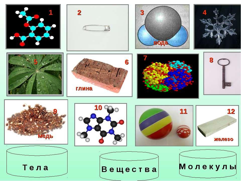 1 2 4 5 6 8 9 10 11 12 глина железо медь вода 3 7 М о л е к у л ы Т е л а В е...