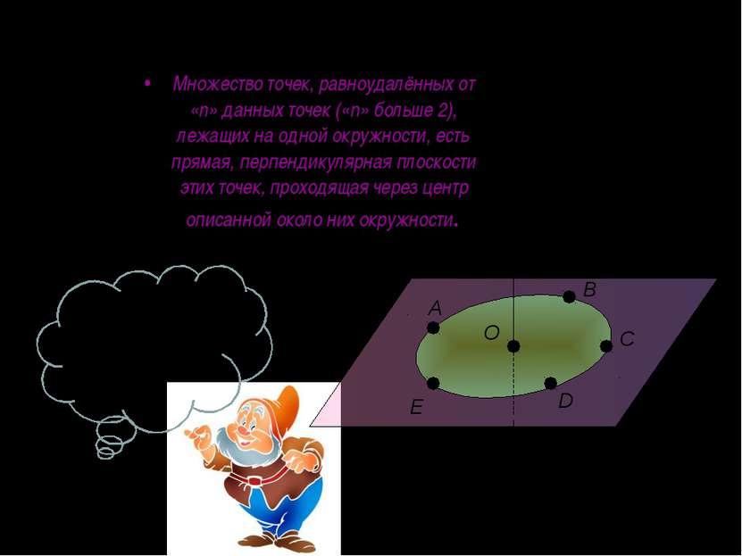 Множество точек, равноудалённых от «n» данных точек («n» больше 2), лежащих н...
