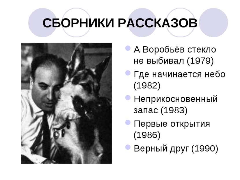 СБОРНИКИ РАССКАЗОВ А Воробьёв стекло не выбивал (1979) Где начинается небо (1...