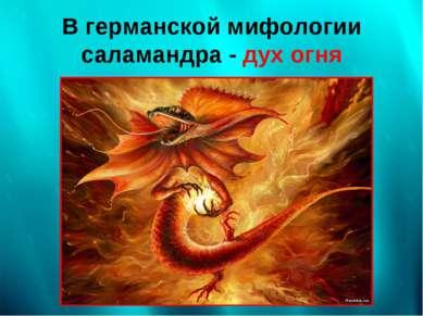 В германской мифологии саламандра - дух огня