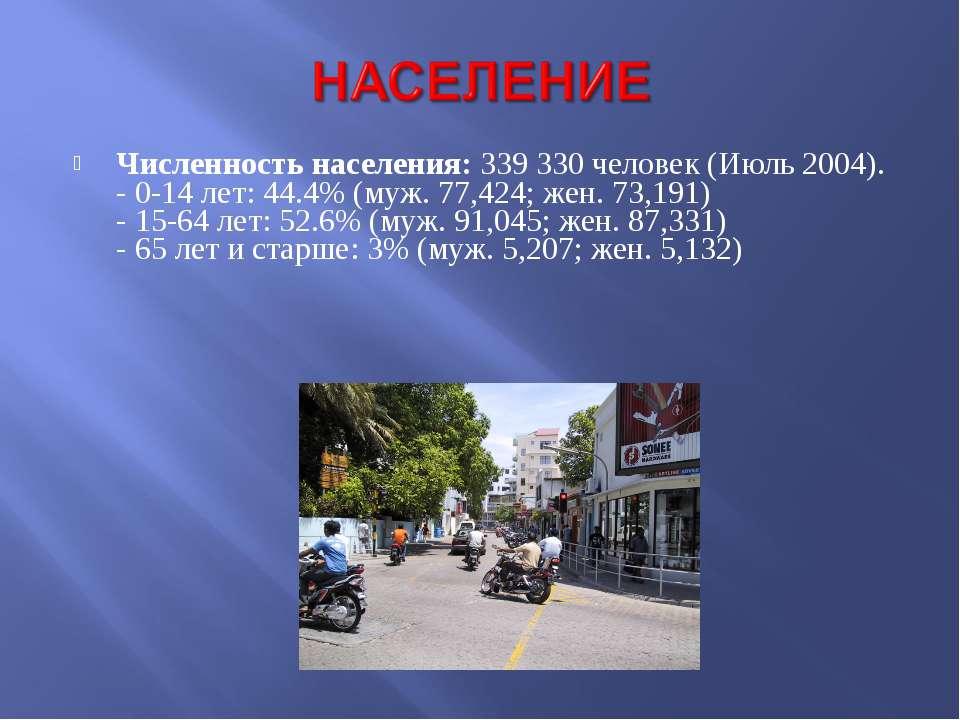 Численность населения: 339 330 человек (Июль 2004). - 0-14 лет: 44.4% (муж. 7...