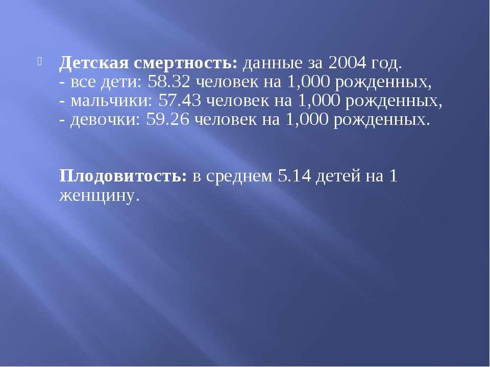 Детская смертность: данные за 2004 год. - все дети: 58.32 человек на 1,000 ро...