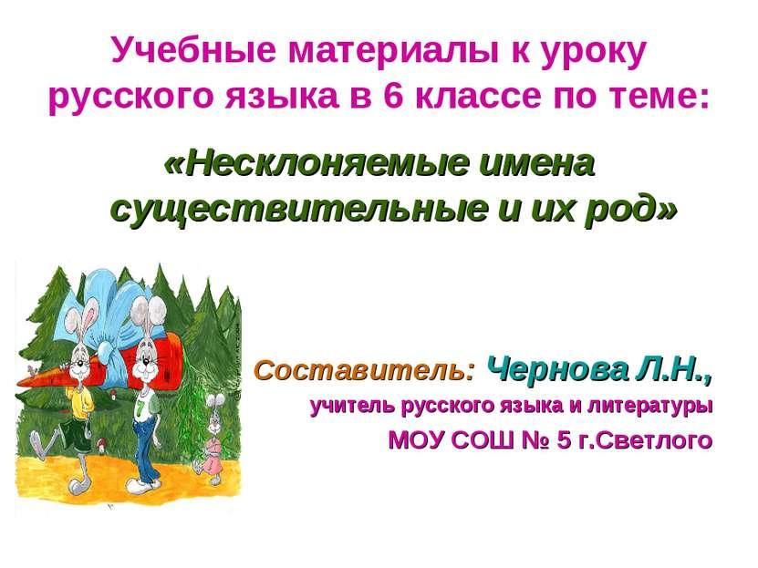 Учебные материалы к уроку русского языка в 6 классе по теме: «Несклоняемые им...