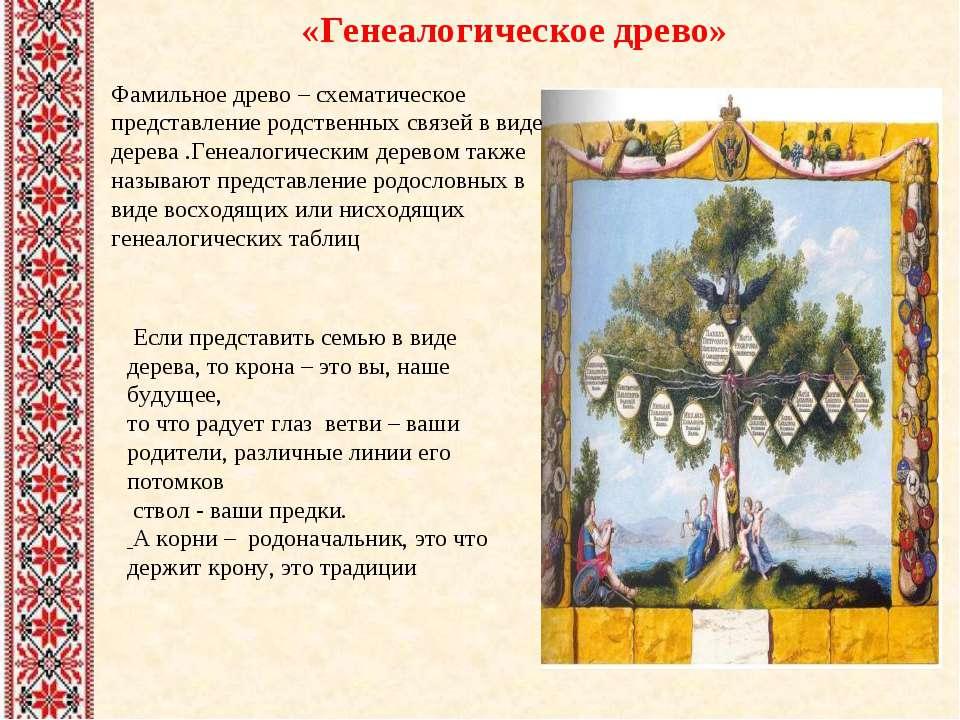 Если представить семью в виде дерева, то крона – это вы, наше будущее, то что...