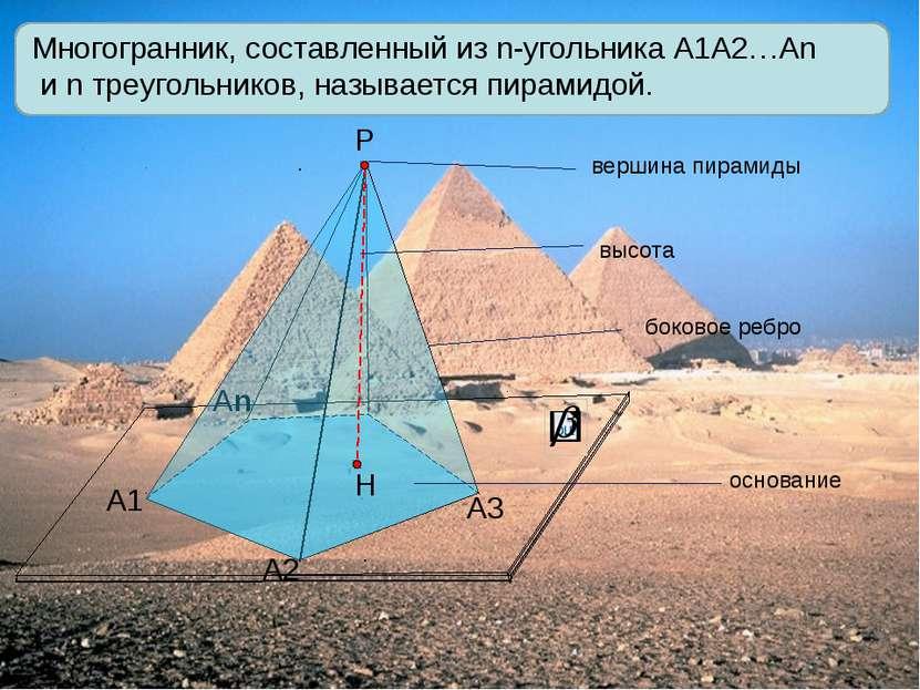 А1 А2 Аn Р А3 Многогранник, составленный из n-угольника А1А2…Аn и n треугольн...