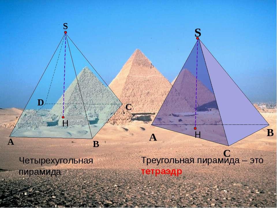 Треугольная пирамида – это тетраэдр Четырехугольная пирамида А B C D S С А В ...
