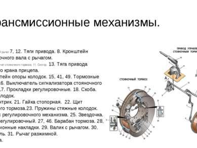 Трансмиссионные механизмы. 6. Регулировочный рычаг.7, 12. Тяги привода. 8. Кр...