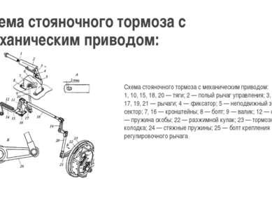 Схема стояночного тормоза с механическим приводом: Схема стояночного тормоза ...