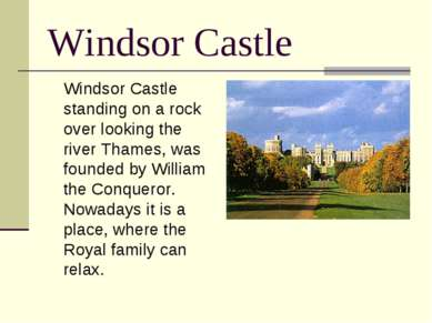 Windsor Castle Windsor Castle standing on a rock over looking the river Thame...
